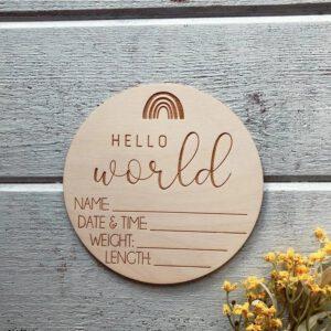 oznanitvena kartica, lesena oznanitvena kartica, hello world