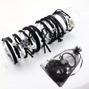 elastike za lase, gumice, črne gumice, črne elastike, set elastik