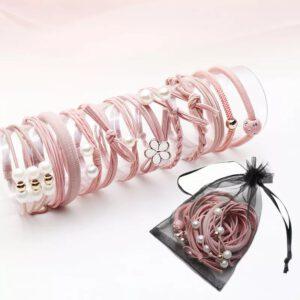 elastike za lase, gumice, roza gumice, roza elastike, set elastik